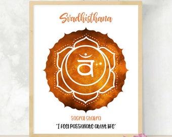 Sacral Chakra Print | 2nd Chakra | Sex Chakra Art Print | Svadhisthana | Second Chakra | Reiki Healing Affirmation  | Zen Studio Art