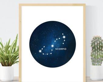 Scorpio Constellation | Horoscope Gift | Watercolor Stars | Astrology Sign | Zodiac Wall Art  | DIY Home Decor | Scorpio Birthday Gift