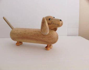 Dog Wooden  Dachshund  figurine statue hand turned and hand made