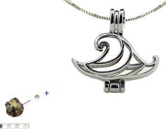 """Cage necklace wishes in waves of Sterling Silver 925 + Oyster with Pearl"""