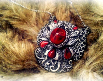 Jewelry: Silver and Red medieval effect - cosplay - polymer clay necklace