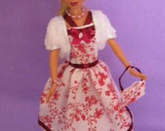 Short white dress has red flowers (B183)