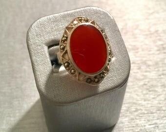 Ambar stone silver 925 womens ring, size 7