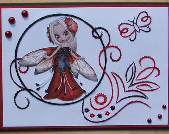 embroidered card - any occasion - black red and white - Elf - jelly