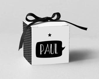 Lot de Boîtes à dragées Hello Design - Modèle Paul