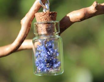 Glass flask, dried flowers, blue