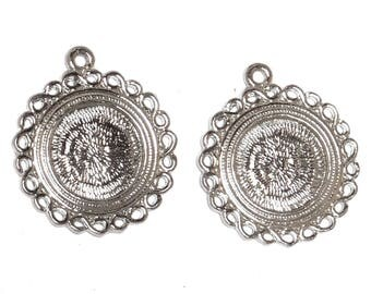 Set of 4 holders Silver (for cabochons 15mm)