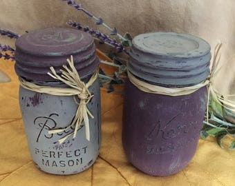 Authentic chalk painted Mason jars with one piece vintage lids!