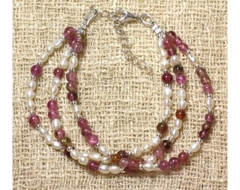 Tourmaline Pink - White cultured pearl bracelet and 925