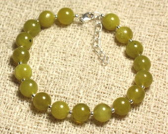 Bracelet 925 sterling silver and semi precious - Olive Jade 8 mm