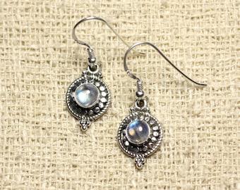 BO210 - 925 sterling silver circles 19mm Rainbow Moonstone earrings