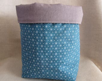 Great basket or empty pocket in blue and gray waxed linen.