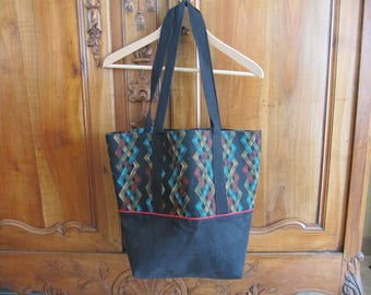 Suede and fabric tote bag