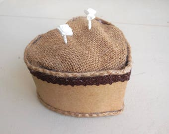 Nature wedding ring pillow, rustic, country - box shape heart * kraft and burlap