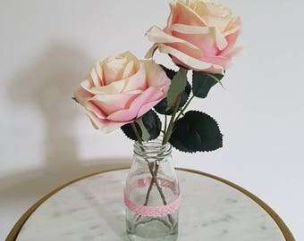 Blush Peach Pink Roses in Milk Bottle Jar Small Artificial Flower Display Gift Mothers Day Pink Lace
