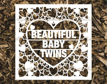 Beautiful Baby Twins Papercutting Template for Personal or Commercial Use Download Cut File JPEG PNG Newborn Birth Congratulations
