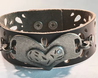 Leather Laser Cut Cuff with Rhinestoned Heart Connector