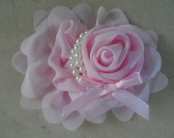 1 flower applique pink light 13 cm for sewing or craft