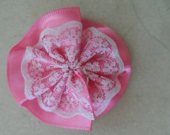 set of 5 appliques, satin and lace fuchsia 50 mm