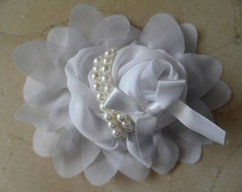 1 flower applique white 13 cm for sewing or craft