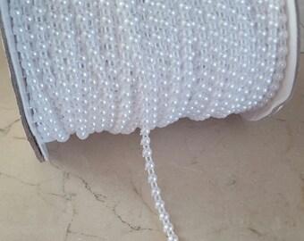 1 meter of trim beads flat white 4 mm