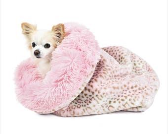 Peluche Plush Pink Leopard and Pink Shag Cuddle Cup Dog Bed