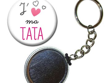 Keyring Badge 38 mm - I love my Auntie family aunt gift