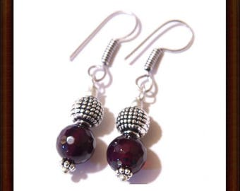 Earrings dangle amethyst and Sterling Silver 925 - 25mm - artisan