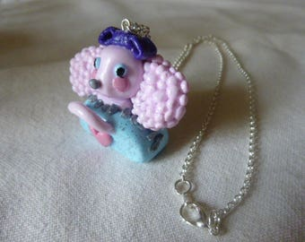 Dog collar in her basket (fimo) - silver tone chain