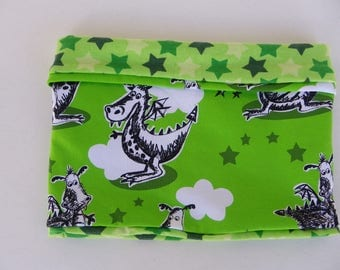 """Snood child mid season for boy, tube scarf reversible in coordinated stars and green motifs jersey """"dragons"""""""