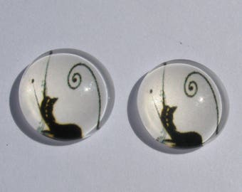 2 cabochons 12 mm cats black and white