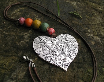 Colorful antique beads and Heart Necklace