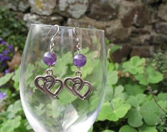 Earrings ' ear Amethyst beads and hearts