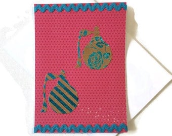 Carte double rose et turquoise thème Mode et Beauté