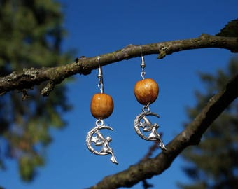 quarter moon with fairy Silver earrings with natural hazelnuts on