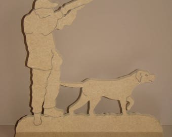 Hunter and his dog on a MDF base to customize 20 cm x H 22 cm