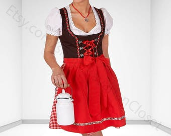 Dirndl Dress Red, Ethnic 3 Piece Oktoberfest Bavarian Trachten. Austrian, German Folk Outfit - Dirndl Costume With Apron and Blouse