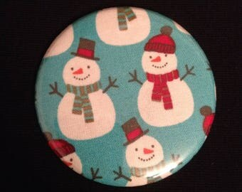 Snowman snow pattern Pocket mirror and matching wallet