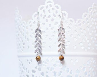 MEYA silvery earrings Brown Tiger eye gemstone and chain ears