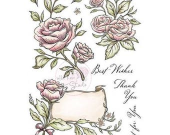 Stamp clear Wild Rose Studio A5 Set Antique pink new