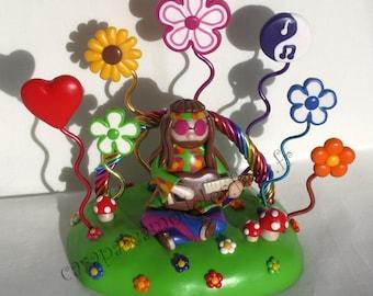 Picture holder hippie flower powe