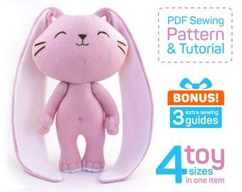 Cute Bunny sewing pattern PDF | Stuffed rabbit pattern | Bunny doll pattern | Rabbit sewing pattern | Rabbit plush pattern | Rabbit patterns
