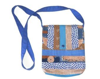Blue and beige shoulder bag