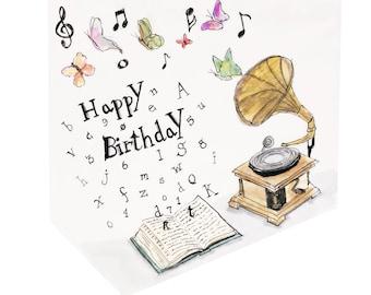Musical Notes - Birthday Card Design