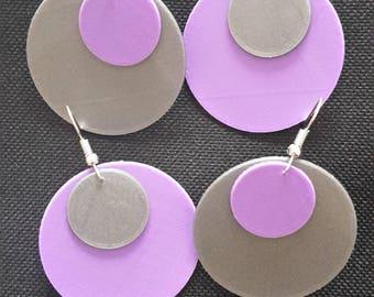 Two-tone fancy round earrings