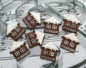 Cabochons 10 x gingerbread house.