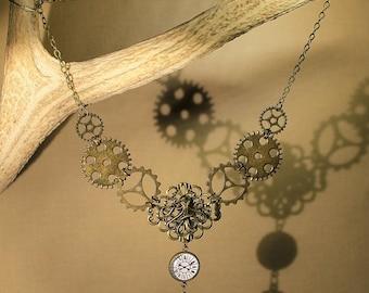 """""""Gears"""" retro, steampunk, fantasy necklace."""