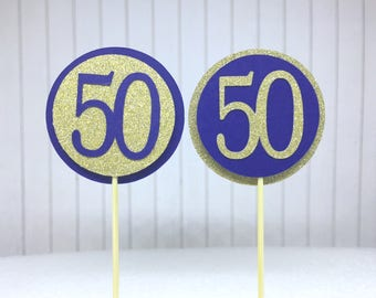 """50th Birthday Cupcake Toppers - Gold Glitter & Navy Blue """"50"""" - Set of 12 - Elegant Cake Cupcake Age Topper Picks Party Decorations"""