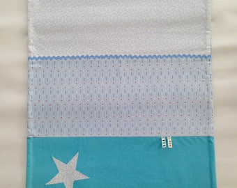 Fleece baby blanket and blue cotton