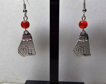 Orange cat earrings